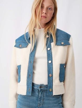 Maje Denim and faux fur jacket