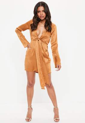 Missguided Satin Plunge Tie Front Shift Dress