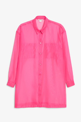 Monki Sheer shirt dress