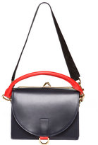 Sacai Leather Satchel Bag w/Customizable Strap, Navy