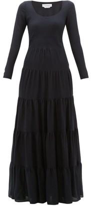 Gabriela Hearst Slava Tiered Wool-blend Maxi Dress - Womens - Navy