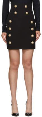Balmain Black Wool Miniskirt