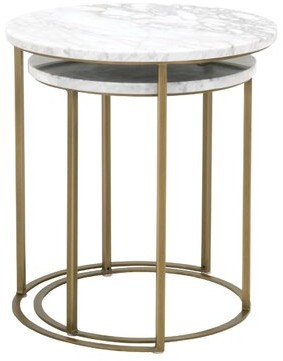 Three Posts Derwent 2 Piece Nesting Tables Table Base Color: Brushed Gold