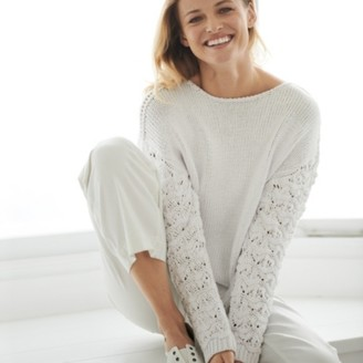 The White Company Pointelle Sleeve Jumper, Porcelain, Extra Large