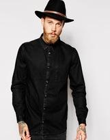 Dr Denim Shirt Mick Regular Old Black Denim - Black