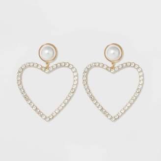 BaubleBar SUGARFIX by Pearl Studs Crystal Heart Hoop Earrings - Pearl