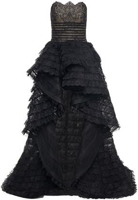 Oscar de la Renta Strapless Grosgrain-trimmed Tiered Lace Gown