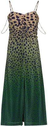 House of Holland Cheetah-Print Ombre Silk Midi Dress