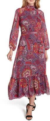 Tahari Mock Neck Print Long Sleeve Maxi Dress