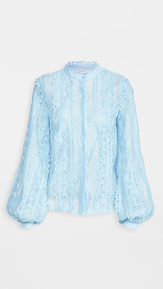 Endless Rose Lace Trimmed Collar Band Blouse