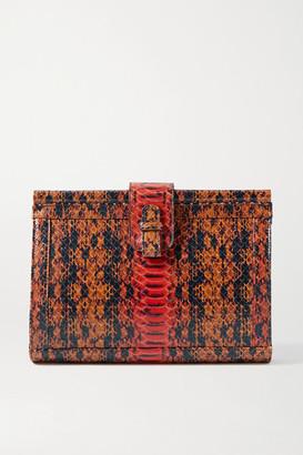 XIMENA KAVALEKAS Megan Snake-effect Leather Clutch - Orange