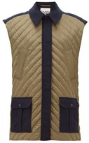 Ganni Oversized Quilted Wool-blend Technical-shell Gilet - Womens - Navy Multi
