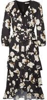 Alice + Olivia Alice Olivia - Kye Ruffled Floral-print Crepe De Chine Midi Dress - Black