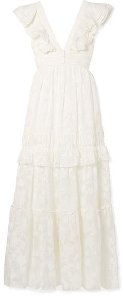 Rachel Zoe Violet Ruffled Fil Coupé Cotton And Silk-blend Gown - Off-white