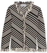 Sonia Rykiel Fringed Striped Cotton-blend Jacket - Ecru