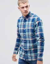 Hollister Poplin Shirt In Slim Fit Plaid Green