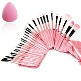Luckyfine Pink Professional 32pcs Makeup Brushes Set Soft Cosmetic Foundation Blush Eyeliner Makeup Brush Kit with Travel Pouch and Sponge Gift Kit