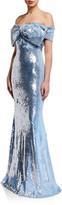 Badgley Mischka Sequin Bow Bustier Mermaid Gown