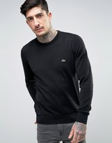 Lacoste Crew Knit Sweater Croc Logo in Black