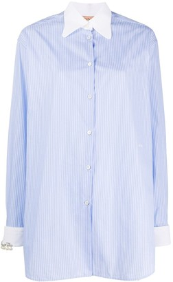 No.21 Embellished Cuff Striped Shirt