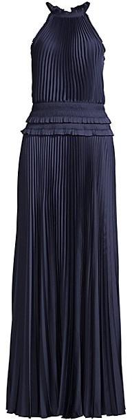 BCBGMAXAZRIA Eve Pleated Halter Dress