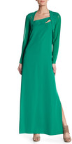 The Kooples Long Sleeve Layered Cutout Maxi Dress