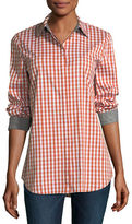 Lafayette 148 New York Brody Long-Sleeve Hampton Check Blouse