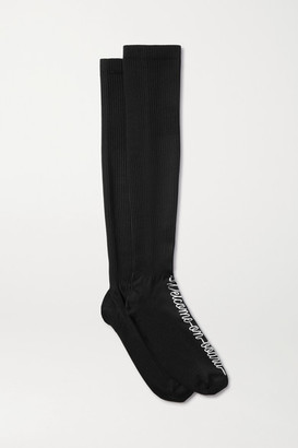 Maria La Rosa Printed Ribbed-knit Compression Socks - Black