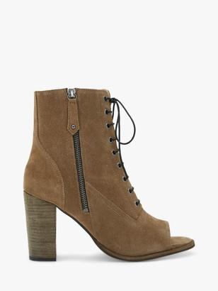 Mint Velvet Aston Suede Lace Up Peep Toe Boots, Tan