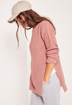 Missguided Side Split Crew Neck Sweater Pink