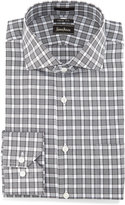 Neiman Marcus Trim-Fit Plaid Dress Shirt, Black