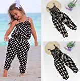 AMA(TM) Toddler Kids Baby Girls Summer Straps Dots Romper Jumpsuit Playsuit Sunsuit Harem Pants Clothes Outfits (6/7T, Black)