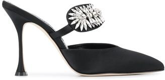 Manolo Blahnik Crystal-Embellished Mules