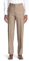 Canali Men's Flat Front Solid Stretch Cotton Trousers