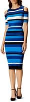 Karen Millen Striped Cold Shoulder Dress