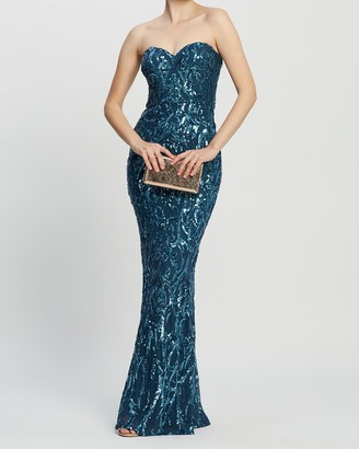 Bariano Shiva Sweetheart Pattern Sequin Gown