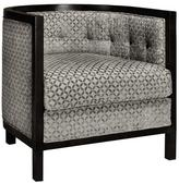 Lenox Home Decorators Collection 30 in. W Grey Tonal Print Barrel Back Chair