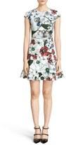 Erdem Women's Darlna Floral Print Neoprene Flutter Hem Dress
