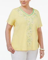 Alfred Dunner Plus Size Bahama Bay Collection Embroidered V-Neck Top