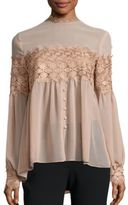 Nicholas Silk Georgette Lace Applique Blouse