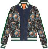 Gucci Grotesque Garden print silk bomber jacket