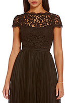 Adrianna Papell Scalloped Lace Crop Top