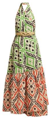 Binetti Love I Go Around Cotton Maxi Dress - Womens - Orange Print