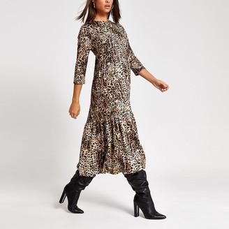 River Island Beige leopard print midi smock dress