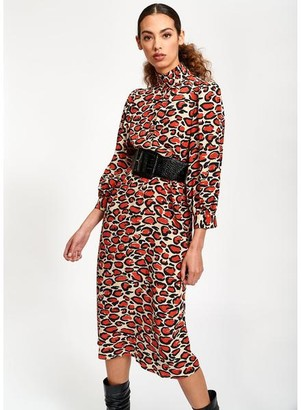 Essentiel Antwerp Tapir Leopard Print Midi Dress - 40