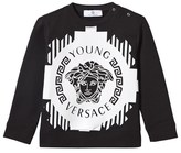 Young Versace Black and White Medusa Print Sweatshirt