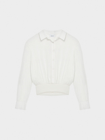 DKNY Silk Collared Button Down Pullover