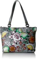 Anuschka Anna Handpainted Leather Large Tote,Garden of Eden