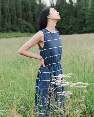 Beaumont Organic Mulberry Sue Organic Cotton Dress In Midnight Natural - Midnight & Natural / Extra Small
