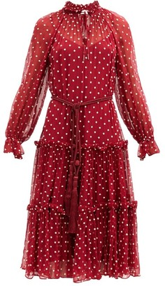 Zimmermann Ladybeetle Polka Dot-print Crepe Midi Dress - Red White